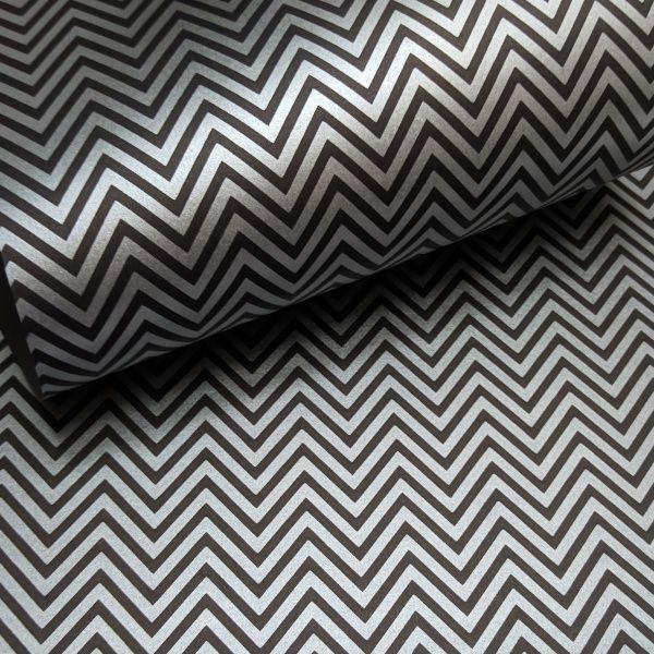 Papel Chevron - Preto com prata - Tam. 30,5x30,5 - 180g/m²