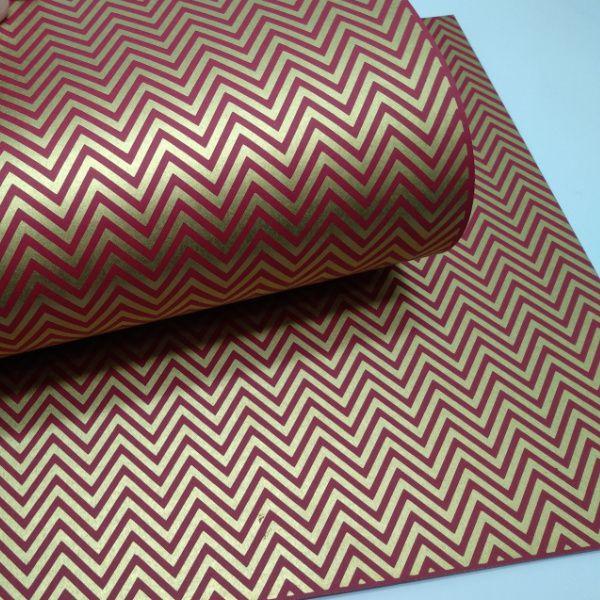 Papel Chevron - Vermelho com ouro - Tam. A4 - 180g/m²