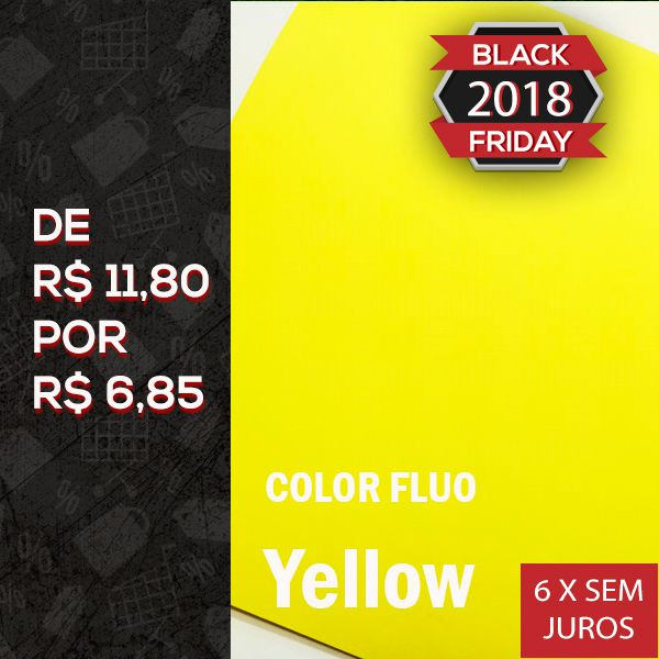 Papel Color Fluo Yellow - Tam. A4 - 180g/m² - 20 folhas