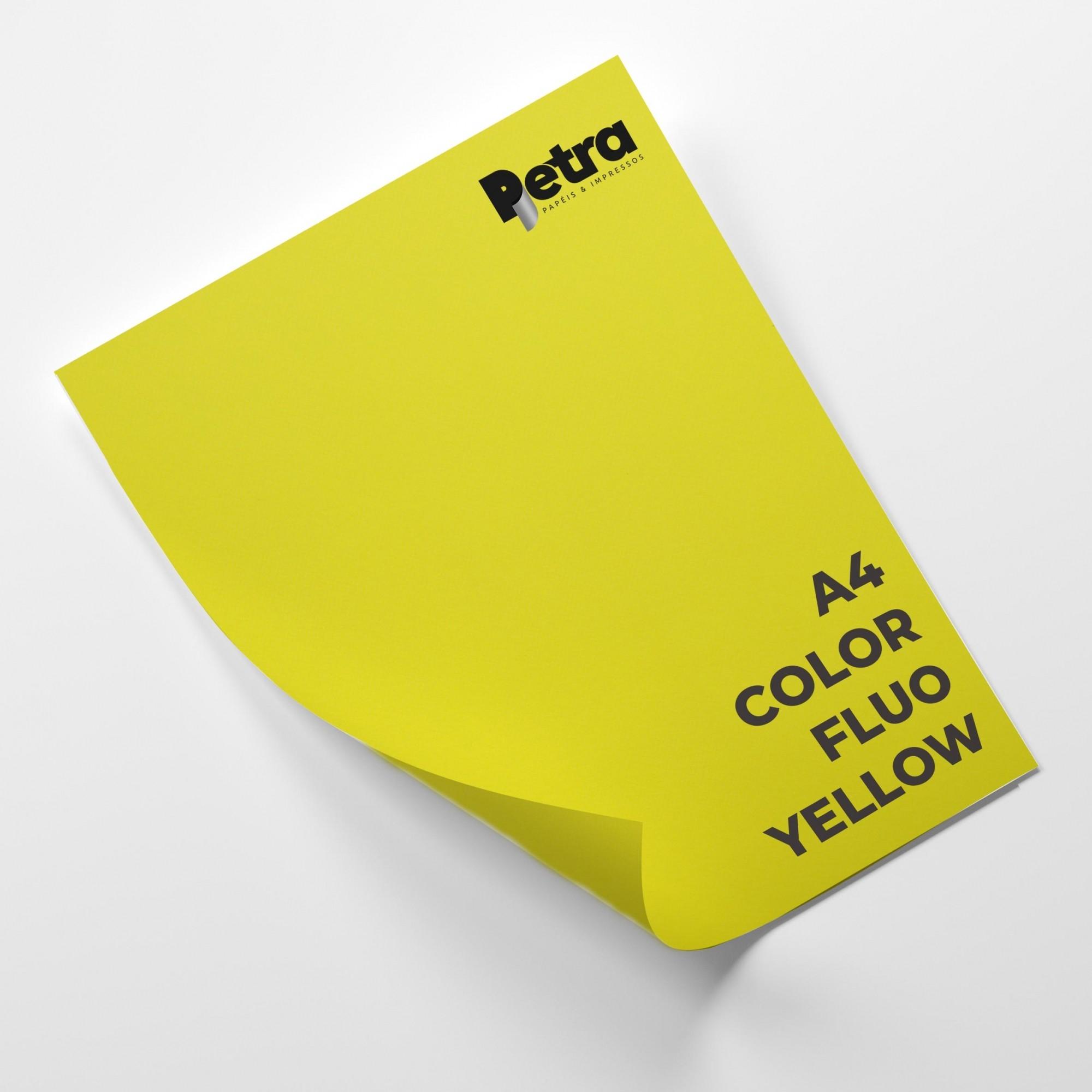 Papel Color Fluo Yellow Tam. A4 180g/m² - 20 Folhas