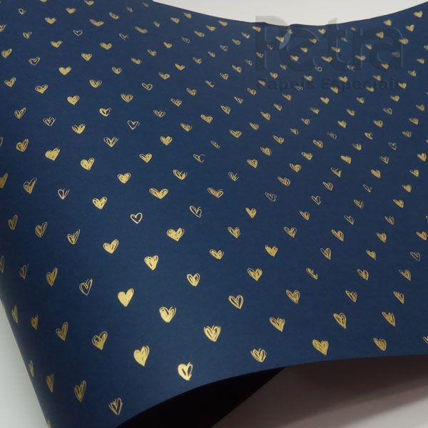 Papel Coração Ref 01 - Azul Escuro com Dourado - Tam. 32x65cm - 180g/m²