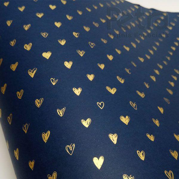 Papel Coração Ref 01 - Azul Escuro com Dourado - Tam. A4 - 180g/m²