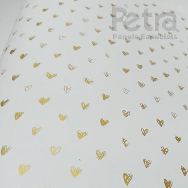 Papel Coração  Ref 01 - Branco com Dourado - Tam. 30,5x30,5 - 180g/m²