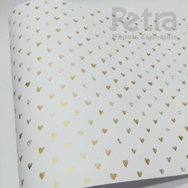 Papel Coração Ref 01 - Branco com Dourado - Tam. 32x65cm - 180g/m²