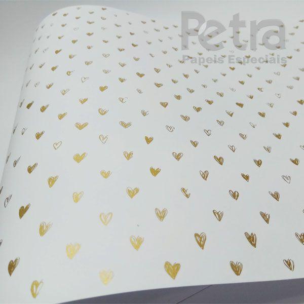 Papel Coração Ref 01 - Branco com Dourado - Tam. A4 - 180g/m²