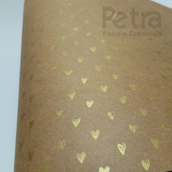 Papel Coração  Ref 01 - Kraft com Dourado - Tam. 30,5x30,5 - 180g/m²