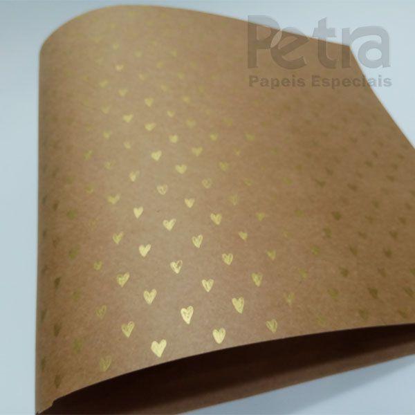 Papel Coração Ref 01 - Kraft com Dourado - Tam. 32x65cm - 180g/m²