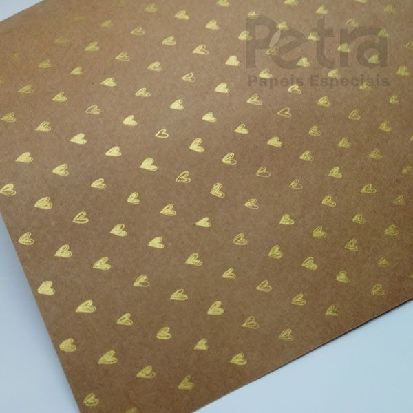 Papel Coração Ref 01 - Kraft com Dourado - Tam. 47x65cm - 180g/m²