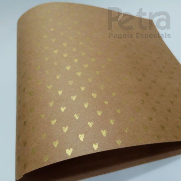 Papel Coração Ref 01 - Kraft com Dourado - Tam. A3 - 180g/m²