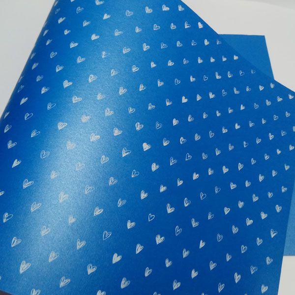 Papel Coração Ref 01 - Pérola Azul com Branco - Tam. 32x65cm - 180g/m²