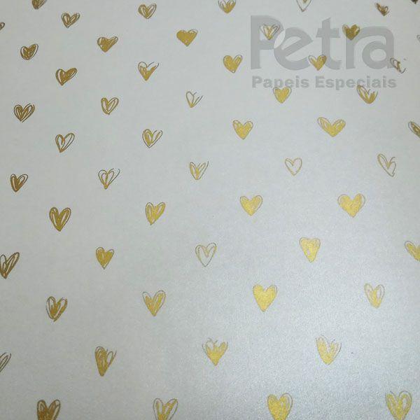 Papel Coração Ref 01 - Pérola com Dourado - Tam. 32x65cm - 180g/m²