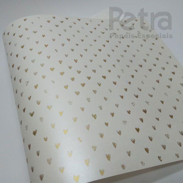 Papel Coração Ref 01 - Pérola com Dourado - Tam. 47x65cm - 180g/m²