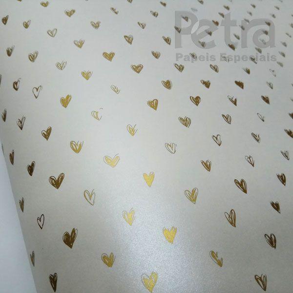 Papel Coração Ref 01 - Pérola com Dourado - Tam. A4 - 180g/m²