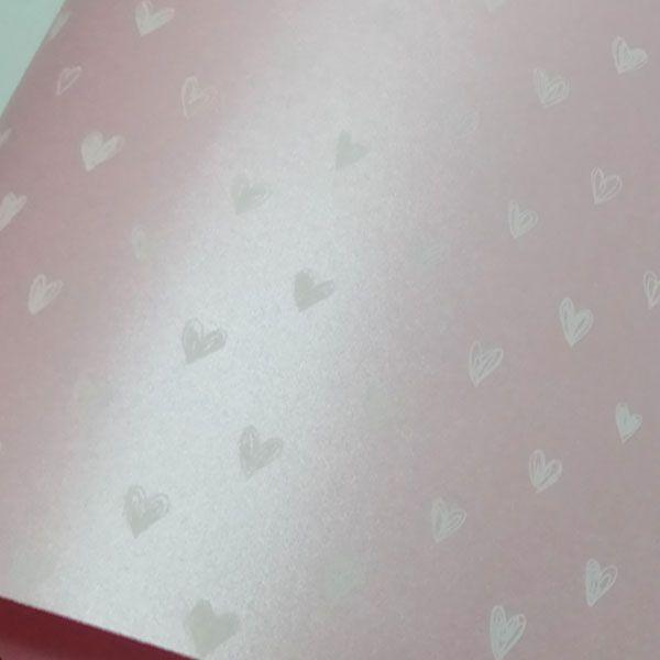 Papel Coração Ref 01 - Pérola Rosa Claro com Branco - Tam. 30,5x30,5cm - 180g/m²