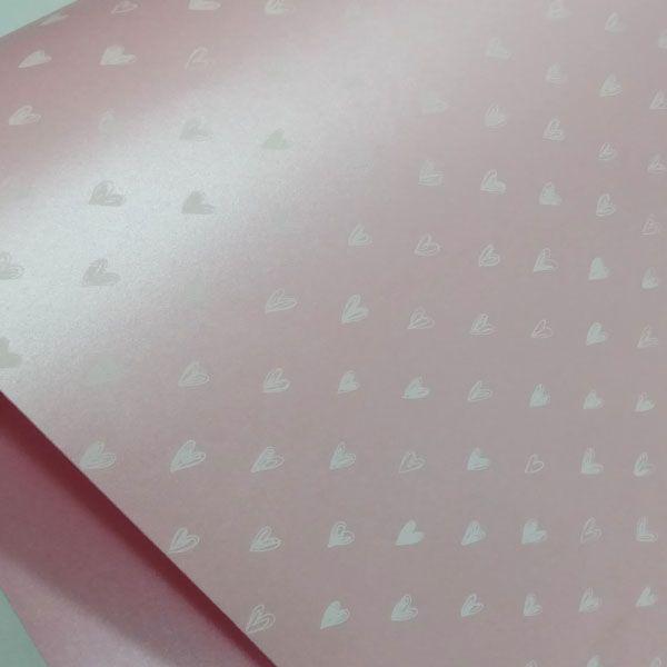 Papel Coração Ref 01 - Pérola Rosa Claro com Branco - Tam. 32x65cm - 180g/m²