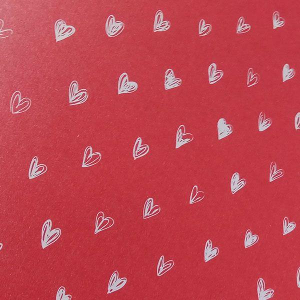 Papel Coração Ref 01 - Pérola Vermelho com Branco - Tam. 47x65cm - 180g/m²