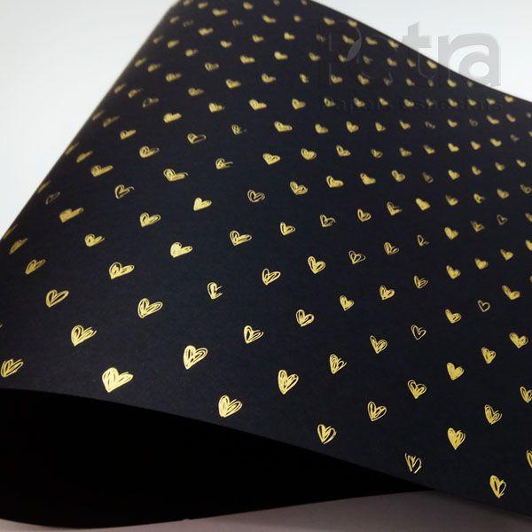 Papel Coração Ref 01 - Preto com Dourado - Tam. 32x65cm - 180g/m²