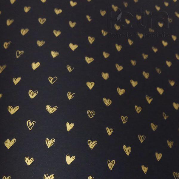 Papel Coração Ref 01 - Preto com Dourado - Tam. A4 - 180g/m²