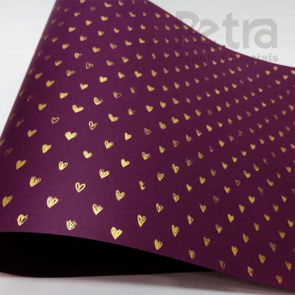 Papel Coração Ref 01 - Roxo com Dourado - Tam. 32x65cm - 180g/m²