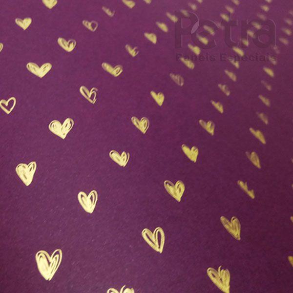 Papel Coração Ref 01 - Roxo com Dourado - Tam. 47x65cm - 180g/m²