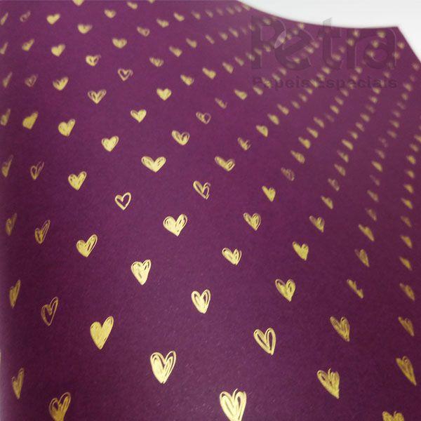 Papel Coração Ref 01 - Roxo com Dourado - Tam. A4 - 180g/m²