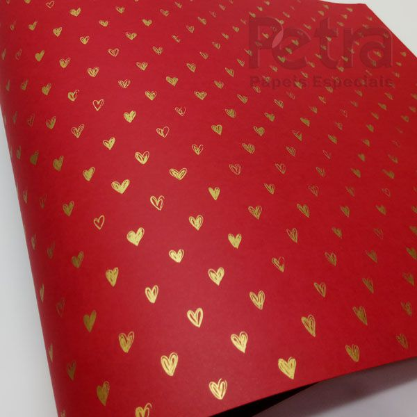 Papel Coração  Ref 01 - Vermelho com Dourado - Tam. 30,5x30,5 - 180g/m²