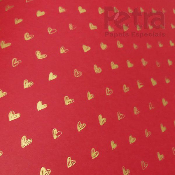 Papel Coração Ref 01 - Vermelho com Dourado - Tam. 32x65cm - 180g/m²