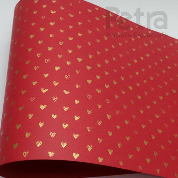 Papel Coração Ref 01 - Vermelho com Dourado - Tam. A3 - 180g/m²