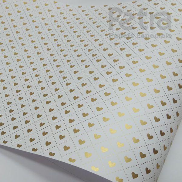 Papel Coração Ref 02 - Branco com Dourado - Tam. 30,5x30,5 - 180g/m²