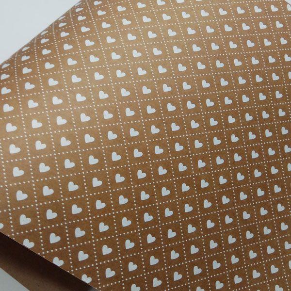 Papel Coração Ref 02 - Kraft com Branco - Tam. 32x65cm - 180g/m²