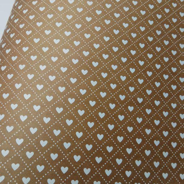 Papel Coração Ref 02 - Kraft com Branco - Tam. A4 - 180g/m²