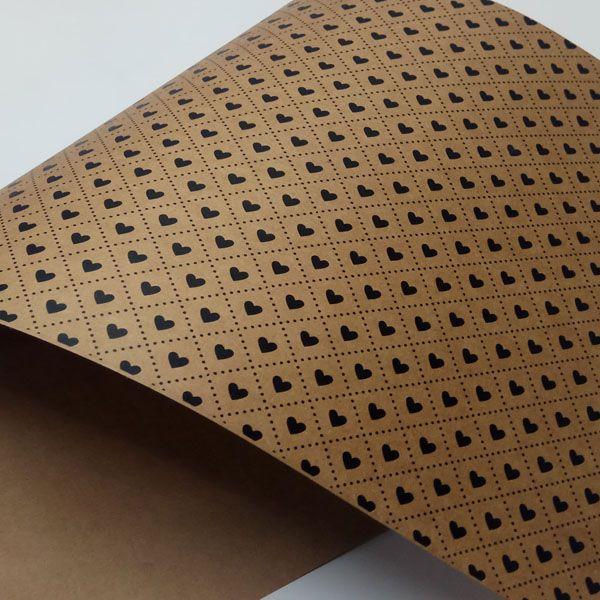 Papel Coração Ref 02 - Kraft com Preto - Tam. 32x65cm - 180g/m²