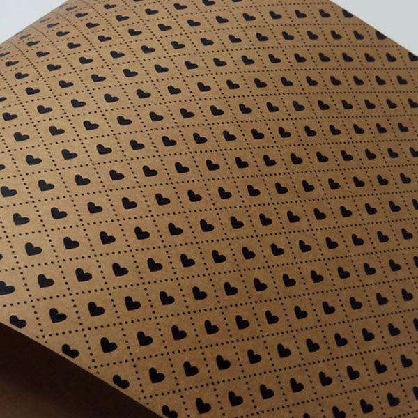 Papel Coração Ref 02 - Kraft com Preto - Tam. 47x65cm - 180g/m²