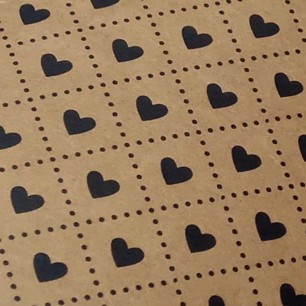 Papel Coração Ref 02 - Kraft com Preto - Tam. A4 - 180g/m²
