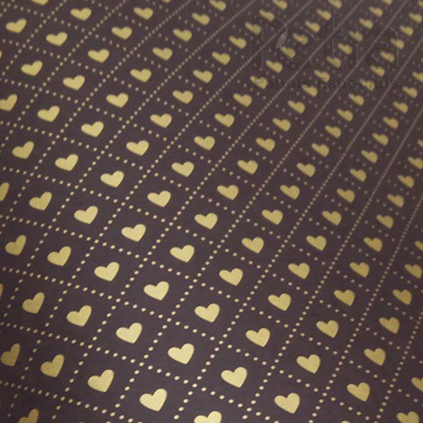 Papel Coração  Ref 02 - Marrom com Dourado - Tam. 30,5x30,5 - 180g/m²