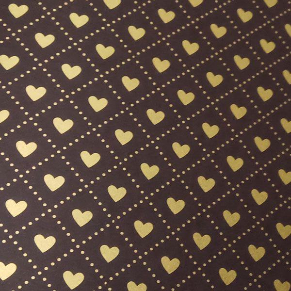 Papel Coração Ref 02 - Marrom com Dourado - Tam. 47x65cm - 180g/m²
