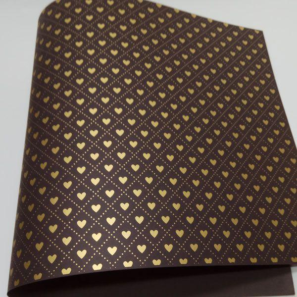 Papel Coração Ref 02 - Marrom com Dourado - Tam. A3 - 180g/m²
