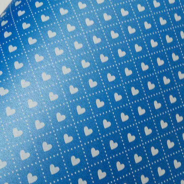 Papel Coração Ref 02 - Pérola Azul com Branco - Tam. 32x65cm - 180g/m²