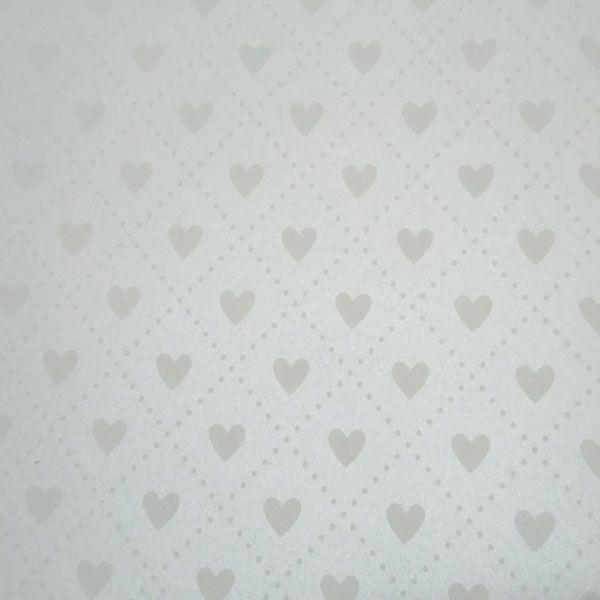Papel Coração Ref 02 - Pérola com Branco - Tam. 32x65cm - 180g/m²