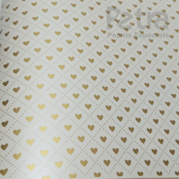 Papel Coração Ref 02 - Pérola com Dourado - Tam. 32x65cm - 180g/m²