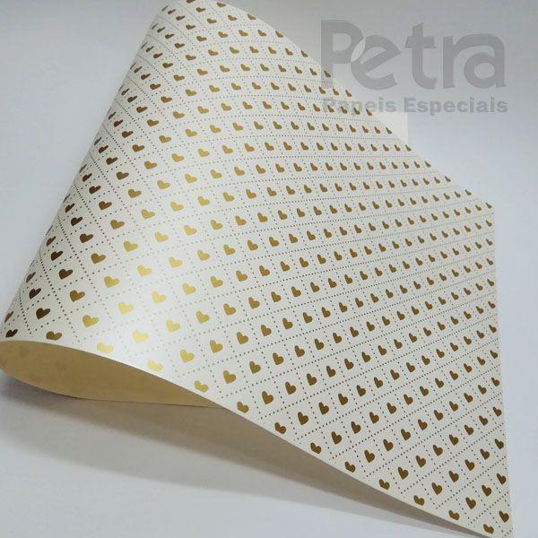 Papel Coração Ref 02 - Pérola com Dourado - Tam. 47x65cm - 180g/m²