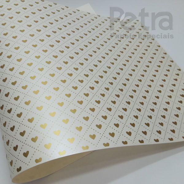 Papel Coração Ref 02 - Pérola com Dourado - Tam. A3 - 180g/m²