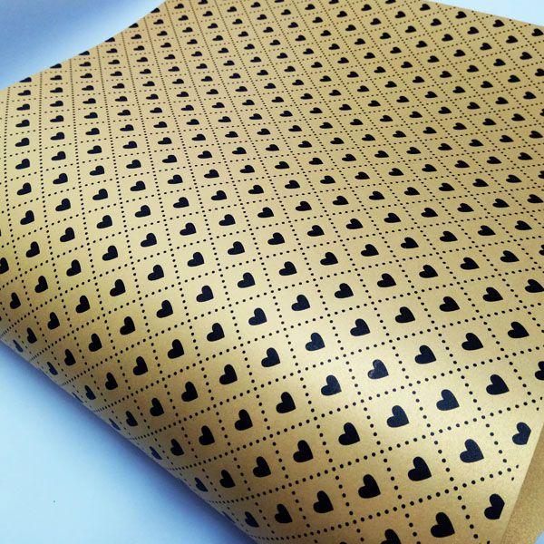 Papel Coração Ref 02 - Pérola Ouro com Preto - Tam. 32x65cm - 180g/m²