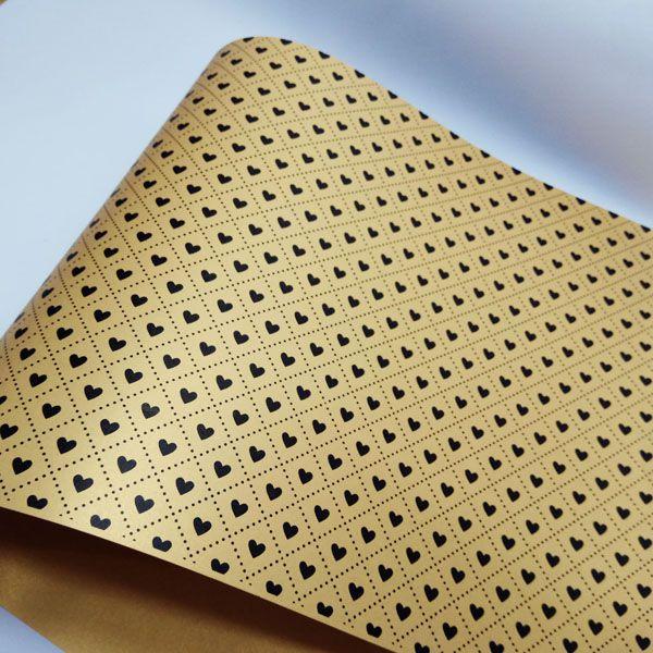Papel Coração Ref 02 - Pérola Ouro com Preto - Tam. 47x65cm - 180g/m²