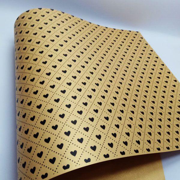 Papel Coração Ref 02 - Pérola Ouro com Preto - Tam. A3 - 180g/m²