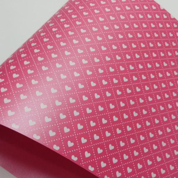 Papel Coração Ref 02 - Pérola Pink com Branco - Tam. 32x65cm - 180g/m²