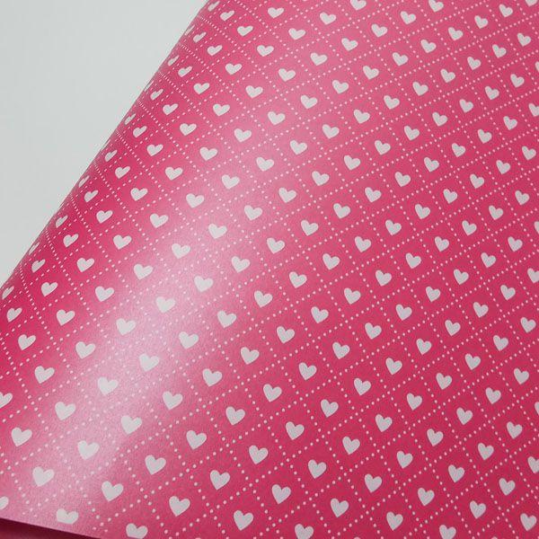 Papel Coração Ref 02 - Pérola Pink com Branco - Tam. 47x65cm - 180g/m²