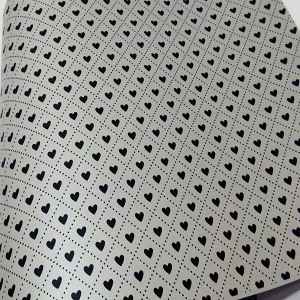 Papel Coração Ref 02 - Pérola Prata com Preto - Tam. A3 - 180g/m²