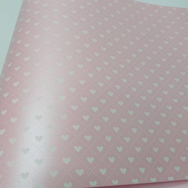 Papel Coração Ref 02 - Pérola Rosa Claro com Branco - Tam. 30,5x30,5cm - 180g/m²