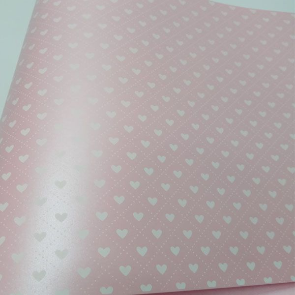 Papel Coração Ref 02 - Pérola Rosa Claro com Branco - Tam. A4 - 180g/m²